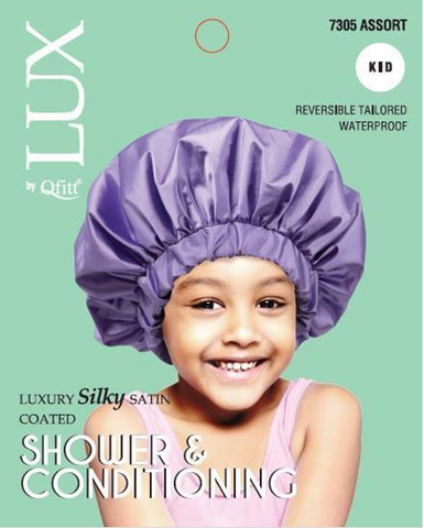 LUX BY QFITT SILKY SATIN SHOWER & CONDITIONING CAP-KIDS ASSORTED - Textured Tech