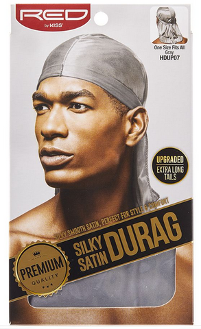 RED PREMIUM SILKY SATIN DURAG (GRAY) - Textured Tech