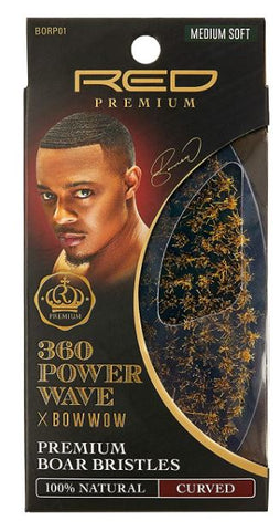 360 POWER WAVE X BOW WOW CURVED PALM BOAR BRUSH - MEDIUM SOFT - Textured Tech