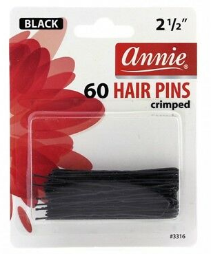 "ANNIE Bobby (Bob) Pins Black 60PCS 2 1/2"" CRIMPED - Textured Tech"