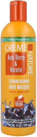 CREME OF NATURE AÇAÍ BERRY & KERATIN STRENGTHENING HAIR MASQUE - Textured Tech