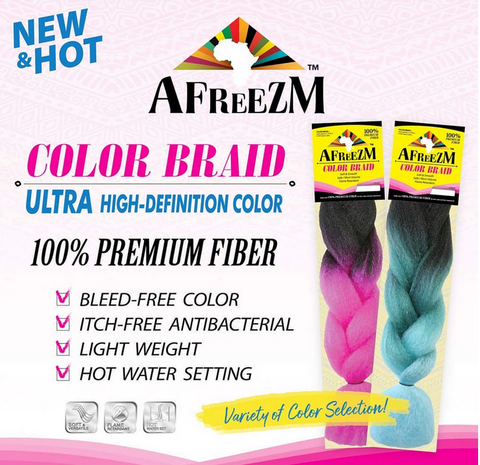 AFREEZM COLOR BRAID HAIR (Bleed Free) - Textured Tech