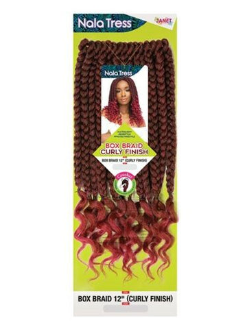 "JANET COLLECTION BOX BRAID 12"" (CURLY FINISH) - Textured Tech"