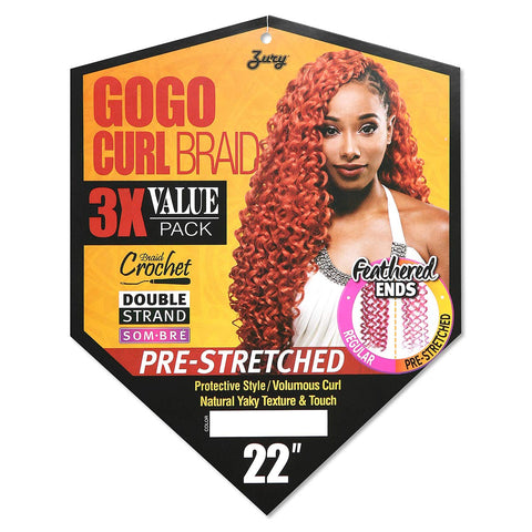"Zury GOGO CURL Braid Crochet PRE-STRETCHED 22"" - Textured Tech"
