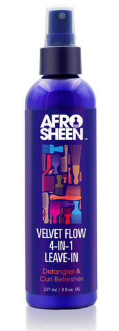 AFRO SHEEN VELVET FLOW 4-IN-1 LEAVE-IN DETANGLER & CURL REFRESHER 8fl oz - Textured Tech