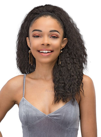 JANET COLLECTION LONG SYNTHETIC DRAWSTRING PONYTAIL - Textured Tech