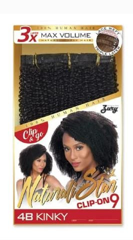 NATURALI STAR CLIP ON 9 PIECES 4B KINKY TEXTURE - Textured Tech