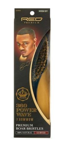 360 POWER WAVE X BOW WOW PREMIUM CURVED BOAR BRUSH - MEDIUM SOFT