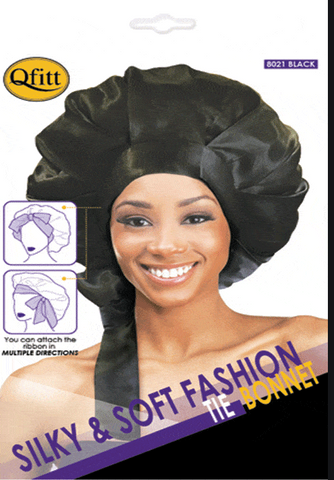 QFITT SILKY & SOFT FASHION TIE BONNET #8021 BLACK - Textured Tech