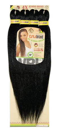 TRU BRAID 4X JUMBO PACK PRE-STRETCHED HAIR 58""