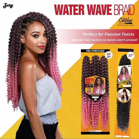 "ZURY 20"" WATER WAVE BRAID PRESTRETCHED 3PCK - Textured Tech"
