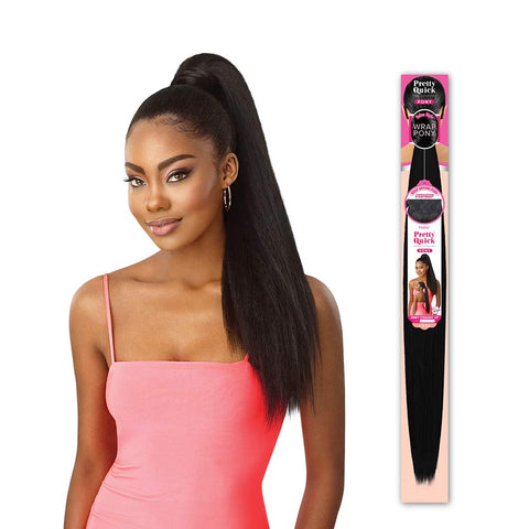 OUTRE PRETTY QUICK SALON STYLE WRAP PONY TAIL JUMBO KINKY STRAIGHT 24""