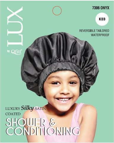 LUX BY QFITT SILKY SATIN BONNET-KIDS BLACK - Textured Tech