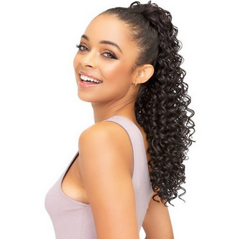 "JANET COLLECTION DRAWSTRING PONYTAIL ""CITRON"" - Textured Tech"