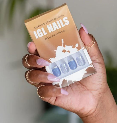 IGL NAILS 24 REUSABLE PRESS-ON-NAILS - Textured Tech