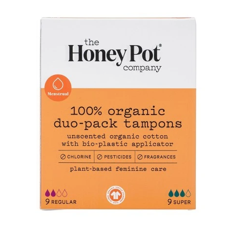 THE HONEY POT COMPANY 100% ORGANIC DUO-PACK TAMPONS 18 CT. - Textured Tech
