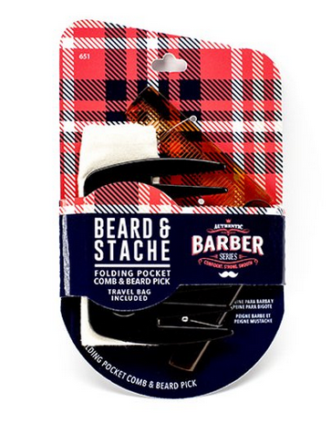 FIRSTLINE WAV ENFORCER BEARD & STACHE FOLDING POCKET COMB AND BEARD PICK - Textured Tech