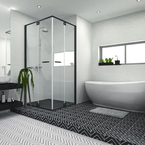 Monoline White & Black Decor Porcelain Wall & Floor Tiles 20x20