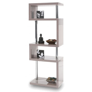 Elegance Tall Gloss Stone Grey Shelving Unit