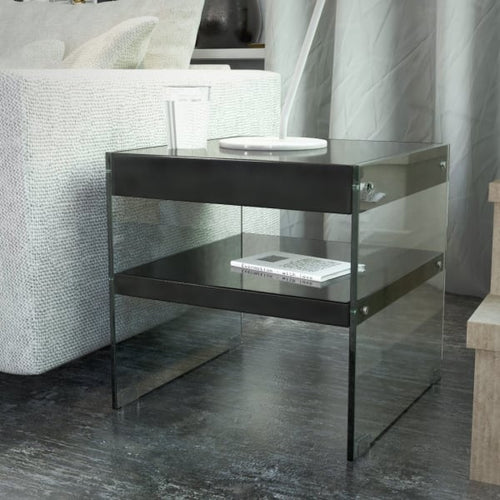 Luxury Designer Glass Square Side/End Table, Gloss Black