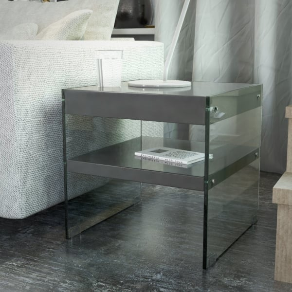 Luxury Designer Glass Square Side/End Table, Gloss Grey
