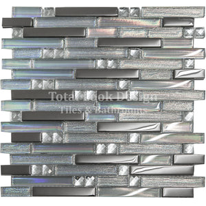 Mosaic Tiles Sheet Linea Diamond Glass Mirror Stripes 30cm X 30cm (mos023)