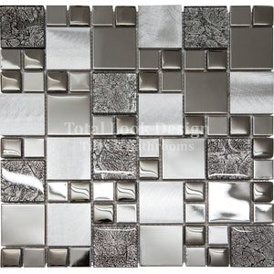 Mosaic Tiles Sheet Onyx Black Mix Squares 30cm X 30cm (mos012)