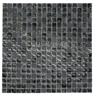 Mosaic Tiles Sheet Crackled Glass Black Stone (mos009)