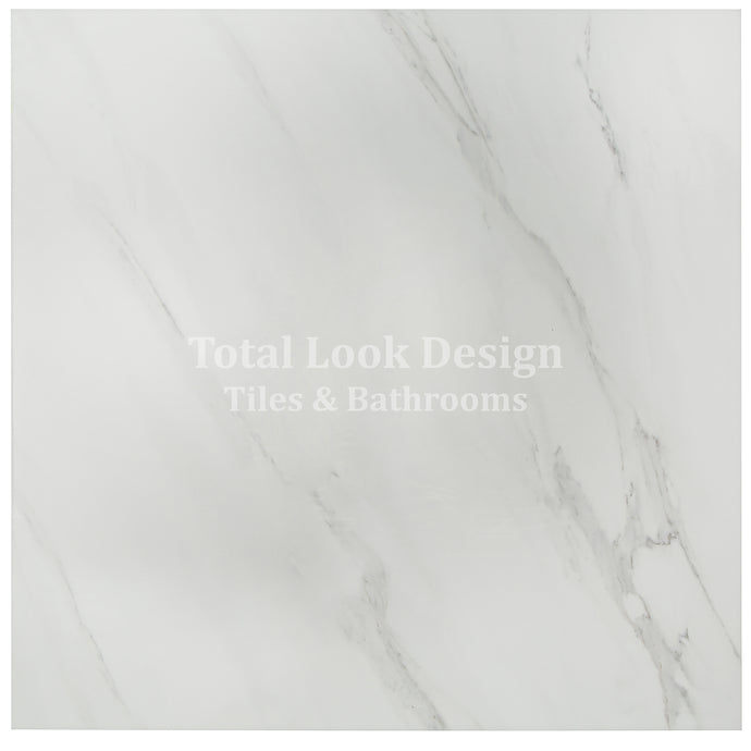 Marble White Polished Stone Effect Italian Porcelain Wall & Floor Tiles 60cm X 60cm