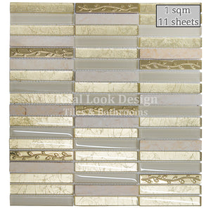 Mosaic Tiles Sheet Golden Tulip Glass & Marble 30cm X 30cm (mos025)