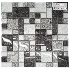 Mosaic Tiles Sheet Hong Kong Black & Silver  30 cm X 30 cm (mos016)