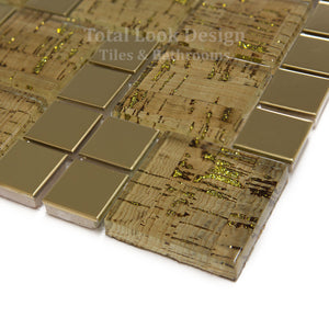 Mosaic Tiles Sheet Lithos Gold 30cm X 30cm (mos029)