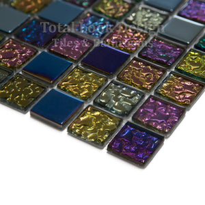Mosaic Tiles Sheet Iridescent Mix 30cm X 30cm (mos027)