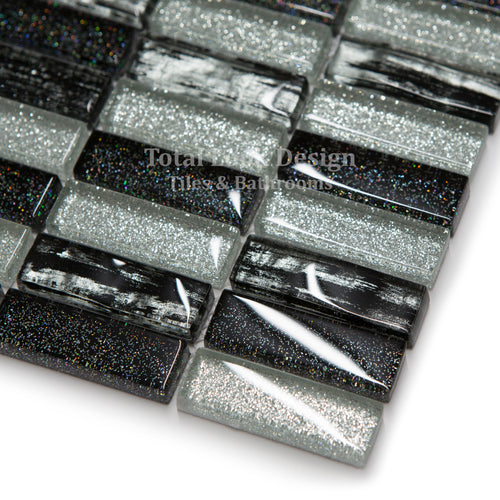 Mosaic Tiles Sheet Glitter Silver & Black Glass 30 cm X 30 cm (mos018)