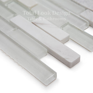Mosaic Tiles Sheet Bianco Stripes Glass & Stone 30 cm X 30 cm (mos028)