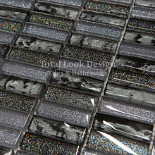 Mosaic Tiles Sheet Glitter Grey & Black Glass 30 cm X 30 cm (mos017)