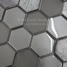 Mosaic Tiles Sheet Habitat Hexagon Silver 30cm X 30cm (mos034)