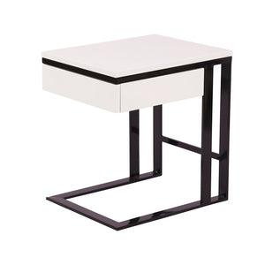 Square White & Black Side / End / Bedside Table