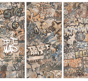 Graffiti Decor Beige Porcelain Wall & Floor Tiles