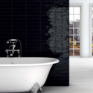 Manhattan Black Gloss Italian Designer White Body Ceramic Wall Tiles 7.5 x 30 cm
