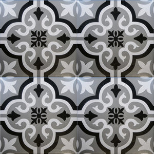 SALE!! Braga Grey & Black Decor Porcelain Wall & Floor Tiles 20x20