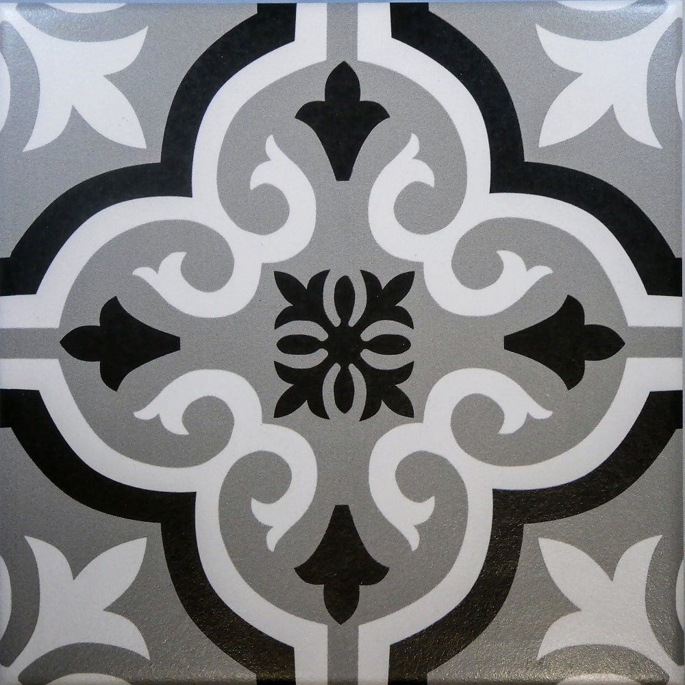 Braga Grey & Black Decor Porcelain Wall & Floor Tiles 20x20