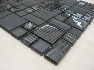 Mosaic Tiles Sheet Nero Mix Glass  30cm X 30cm (mos008)
