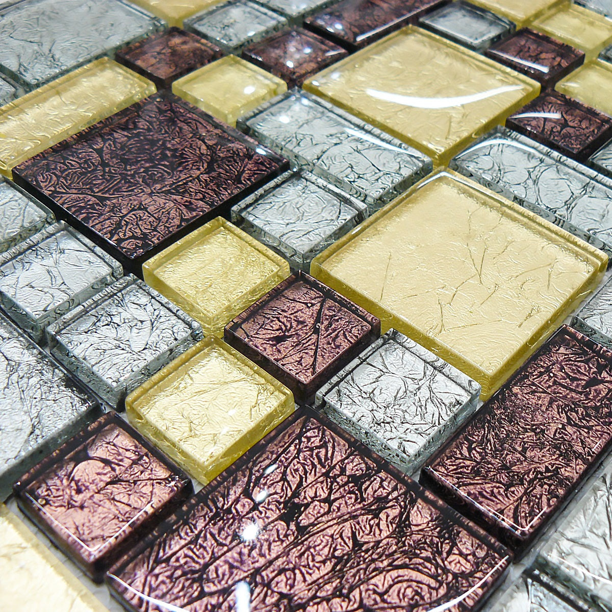 Mosaic Tiles Sheet Hong Kong Gold & Bronze 30cm X 30cm (mos010)