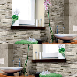 Quarzo Grey Straight Brick Mosaic Effect Italian Porcelain Wall & Floor Tiles