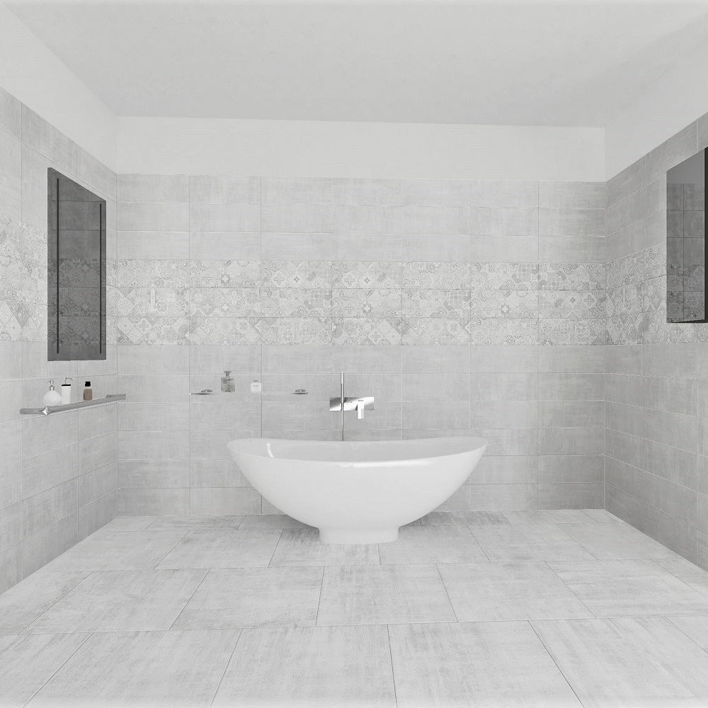 H24 White Semi Polished Italian Porcelain Wall & Floor Tiles