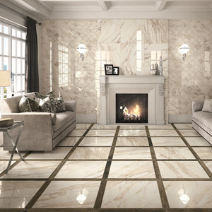 Imp Calacatta Beige Polished Porcelain From £39.00 Per Sqm