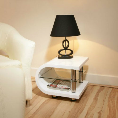 Edge Curve Gloss White Side Table
