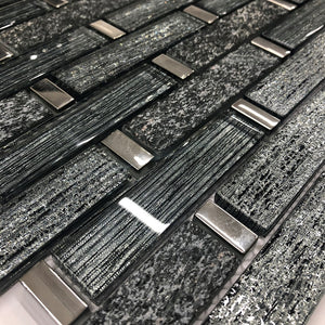 Mosaic Tiles Sheet Linea Diamond Glass And Slate 30cm X 30cm (mos040)
