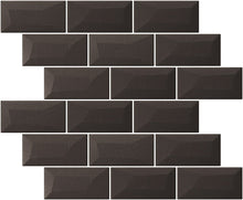 Libra Black Brick Mosaic Tiles Sheet 30cm X 30cm